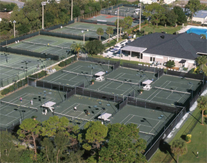Aerial view of Bardmoor Golf & Tennis Club tennis courts and clubhouse